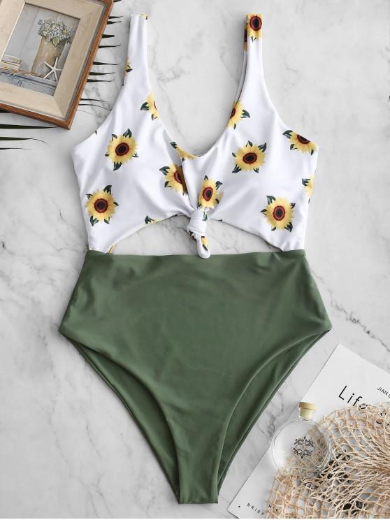 ZAFUL Verknotetes Sonnenblumen- Badeanzug mit Ausschnitt - Tarnanstrich Grün L