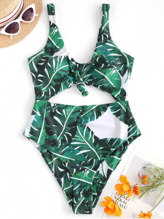 women's ZAFUL Knot Palm Leaf Cut Out Swimsuit - PINE GREEN XL