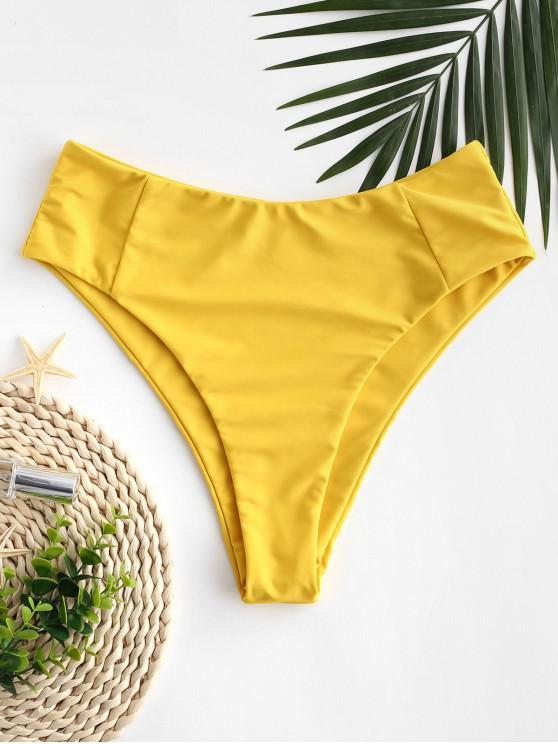 new ZAFUL Seam High Leg Bikini Bottom - GOLDEN BROWN S
