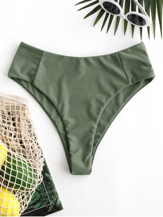 sale ZAFUL Seam High Leg Bikini Bottom - HAZEL GREEN L