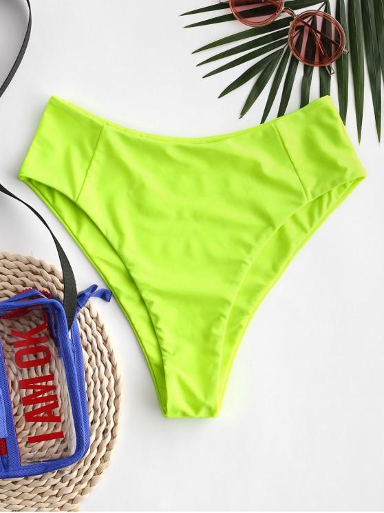 buy ZAFUL Seam High Leg Bikini Bottom - GREEN YELLOW S