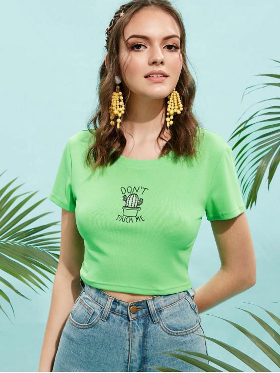 Cactus bordado camiseta acanalada de la cosecha - Verde M