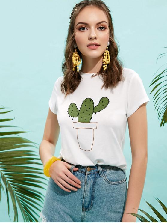 women ZAFUL Basic Cactus Graphic Tee - WHITE S