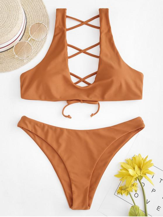 ZAFUL Tie Lattice Bikini Set - Tigre Anaranjado M
