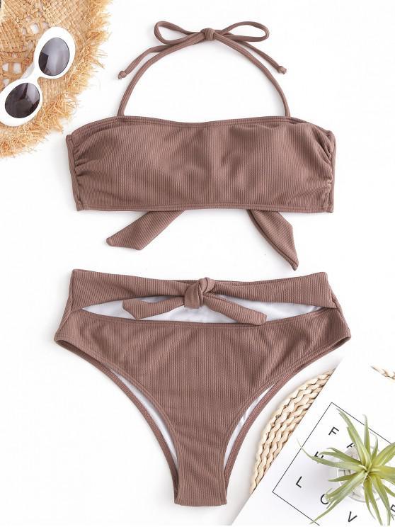 outfit ZAFUL Cutout Knot Ribbed Bikini Set - ROSY BROWN S