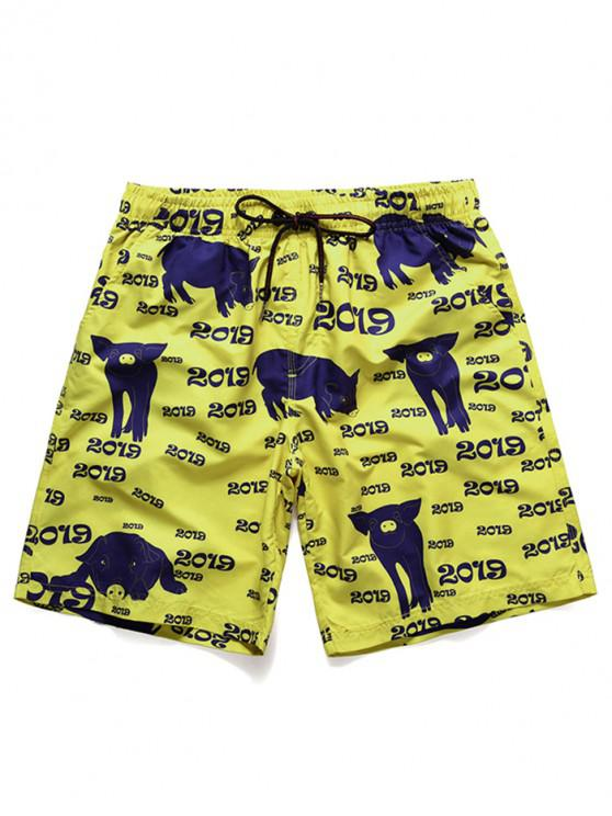 buy Pig Letter Print Beach Shorts - GOLDEN BROWN L