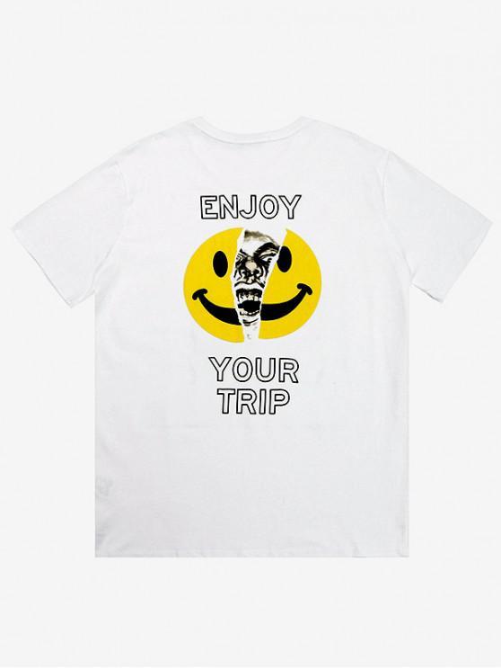 Emoji Lettre Imprimé T-shirt À Manches Courtes - Blanc 2XL