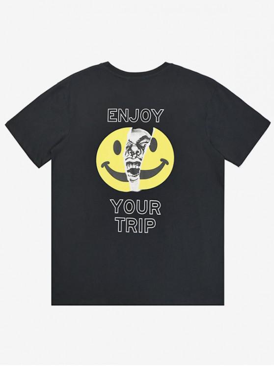 Camiseta de manga corta con estampado de letras emoji - Negro XL