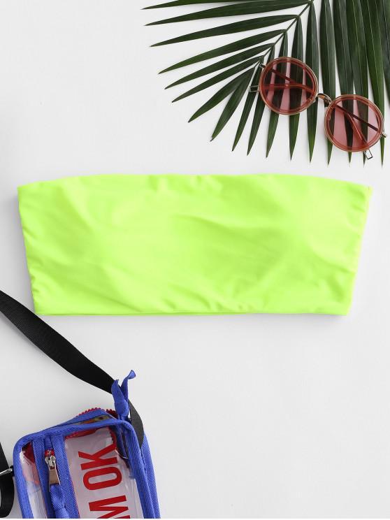 trendy ZAFUL Boning Side Padded Bandeau Bikini Top - GREEN YELLOW M
