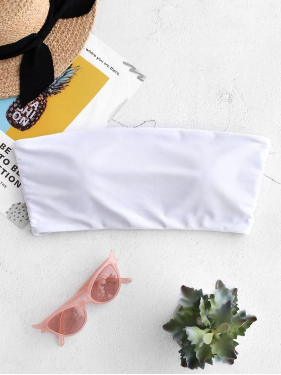 buy ZAFUL Boning Side Padded Bandeau Bikini Top - WHITE L