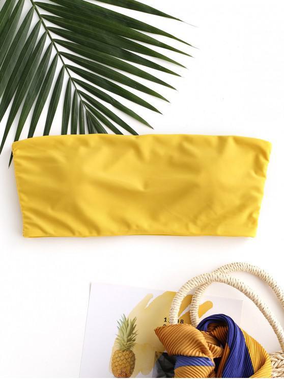 hot ZAFUL Boning Side Padded Bandeau Bikini Top - BRIGHT YELLOW M