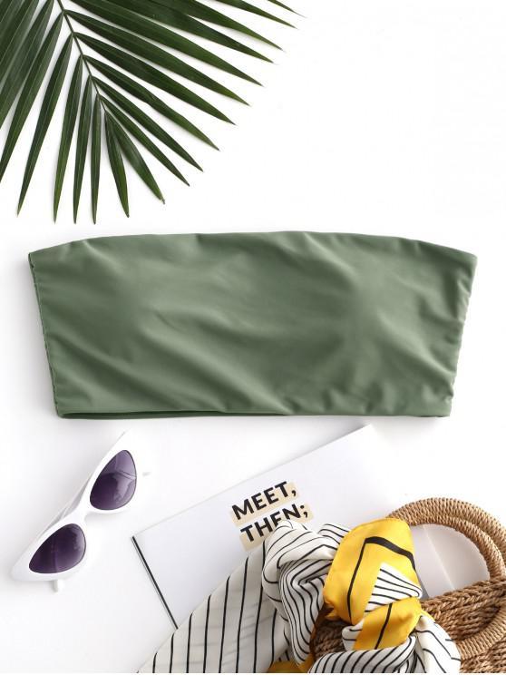 sale ZAFUL Boning Side Padded Bandeau Bikini Top - HAZEL GREEN S