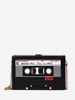 Square Music Tapes Chain Crossbody Bag - Black