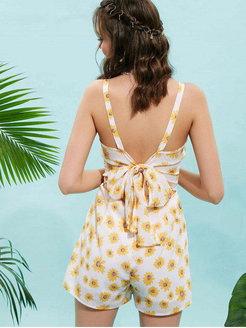 outfit ZAFUL Flower Knot Back Cami Romper - WHITE S Mobile