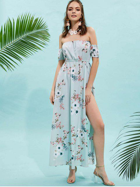 trendy ZAFUL Floral Slit Off Shoulder Maxi Dress - MINT GREEN S Mobile