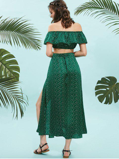 latest ZAFUL Dotted Off Shoulder Top And Slit Skirt Set - MEDIUM FOREST GREEN M Mobile