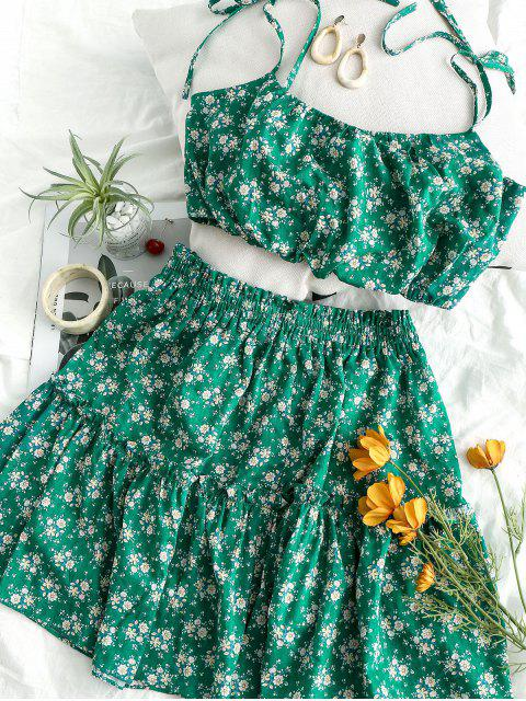 outfits ZAFUL Tied Straps Floral Smocked Top And Skirt Set - LIGHT SEA GREEN M Mobile