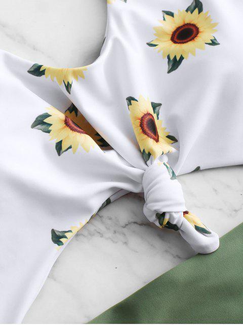 ZAFUL Bañador Ahuecado con Nudo y Estampado de Girasol - Verde Camuflaje L Mobile