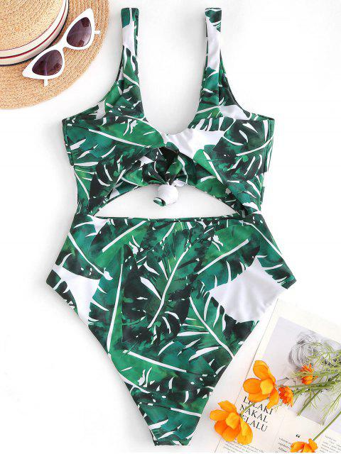 women's ZAFUL Knot Palm Leaf Cut Out Swimsuit - PINE GREEN S Mobile