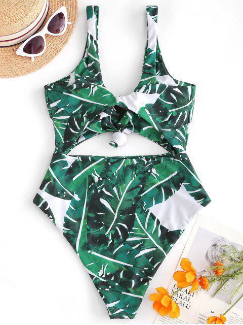 Costume da bagno con foglia di palma ZAFUL Knot - Verde Pine  M Mobile