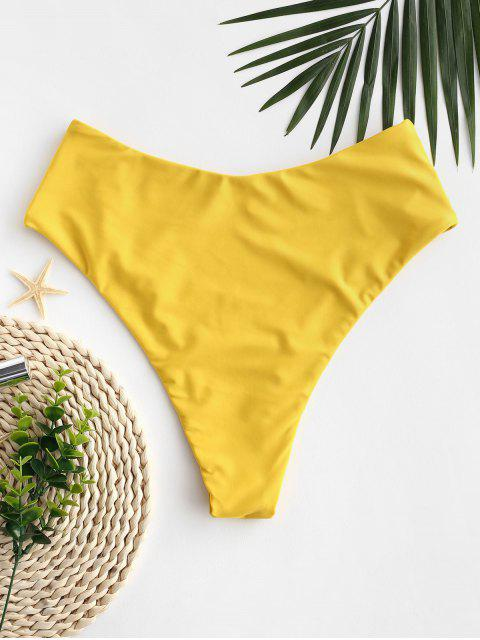 shop ZAFUL Seam High Leg Bikini Bottom - GOLDEN BROWN M Mobile