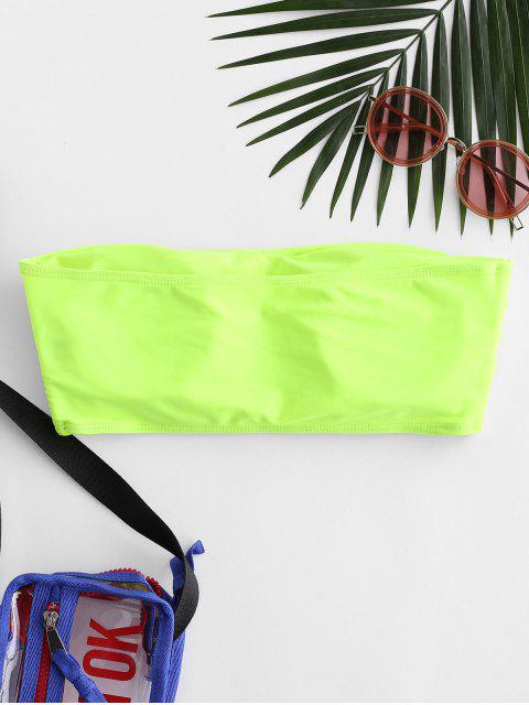 ZAFUL قطعة العاج الجانب مبطن العصابة بيكيني الأعلى - أخضر أصفر M Mobile