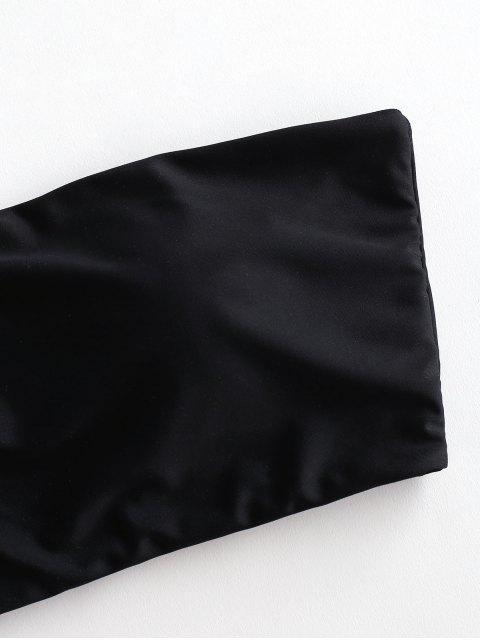womens ZAFUL Boning Side Padded Bandeau Bikini Top - BLACK L Mobile