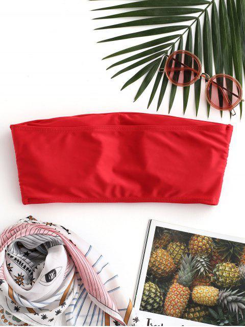 trendy ZAFUL Boning Side Padded Bandeau Bikini Top - RED L Mobile