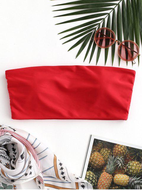 lady ZAFUL Boning Side Padded Bandeau Bikini Top - RED S Mobile