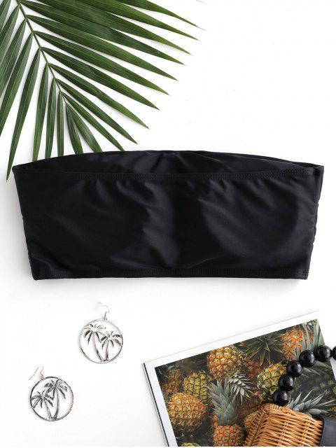 trendy ZAFUL Boning Side Padded Bandeau Bikini Top - BLACK S Mobile