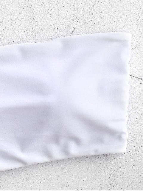 fashion ZAFUL Boning Side Padded Bandeau Bikini Top - WHITE M Mobile