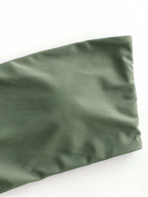 unique ZAFUL Boning Side Padded Bandeau Bikini Top - HAZEL GREEN L Mobile