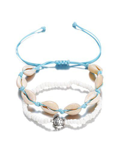 Turtle Cowrie Shell Beaded Beach Anklet Set - Day Sky Blue