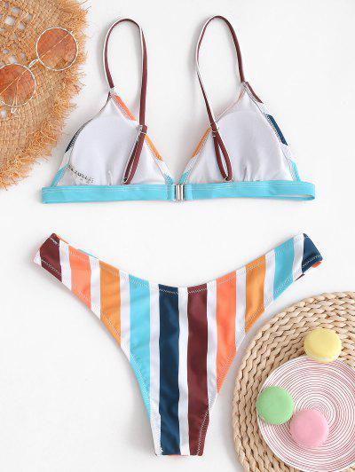 ZAFUL Colorful Stripe Bikini Set, Multi-a