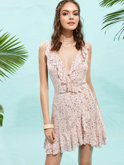 9b43ed83cec Ruffle Tiny Floral Wrap Dress - Light Pink S ...