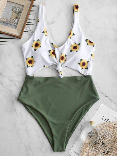 844ac6c6e6 [20% OFF] [HOT] 2019 ZAFUL Knot Sunflower Cut Out Swimsuit In CAMOUFLAGE  GREEN | ZAFUL