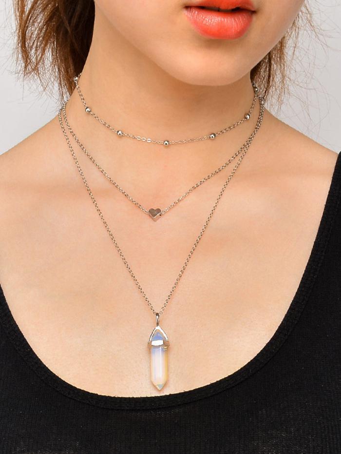 3Pcs Heart Faux Crystal Necklace Set