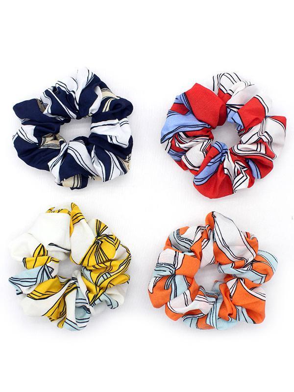 4Pcs Cloth Striped Scrunchies Set