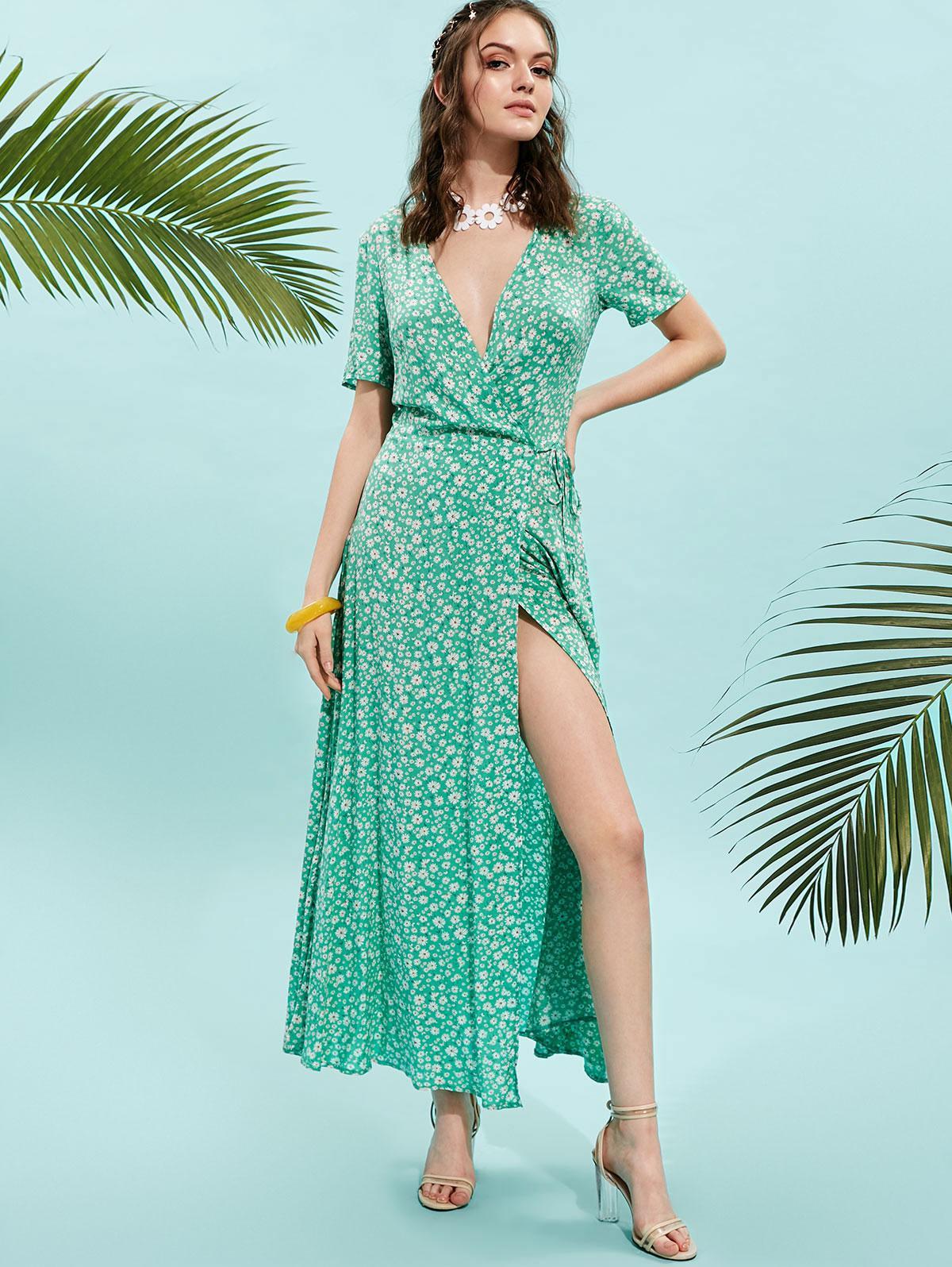 ZAFUL V Neck Floral Print Maxi Wrap Dress, Green