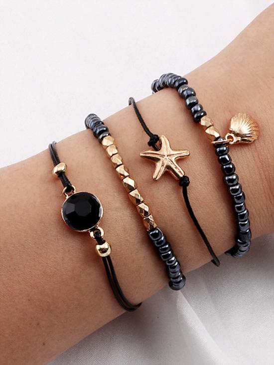 4Pcs Shell Starfish Beaded Bracelet Set