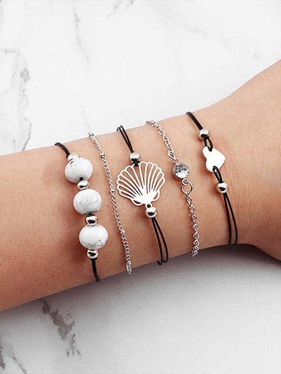 5Pcs Heart Shell Beaded Bracelet Set