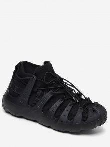 الدانتيل متابعة تنفس تصميم أحذية رياضية - أسود الاتحاد الأوروبي 35