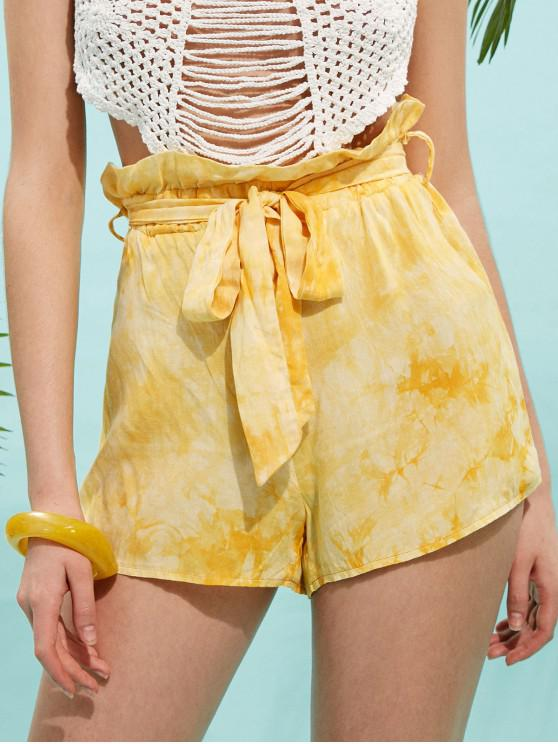 ladies ZAFUL Frilled Tie Dye Belted Shorts - GOLDENROD L