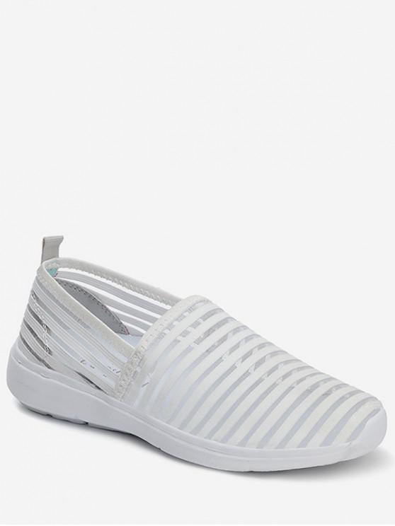 women Striped Breathable Casual Flat Shoes - WHITE EU 37