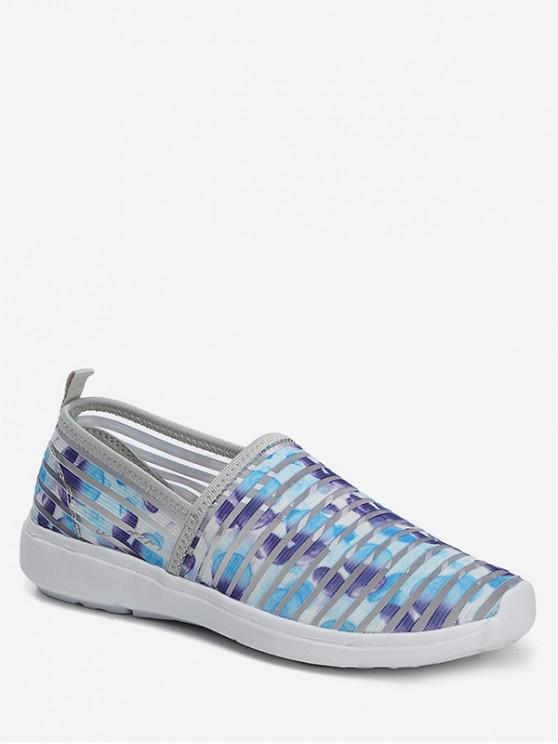 ladies Striped Breathable Casual Flat Shoes - BLUE EU 36