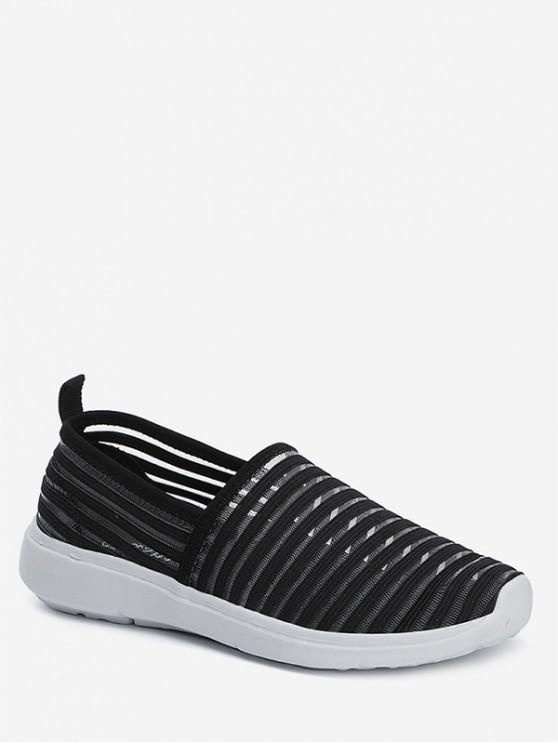 shop Striped Breathable Casual Flat Shoes - BLACK EU 41