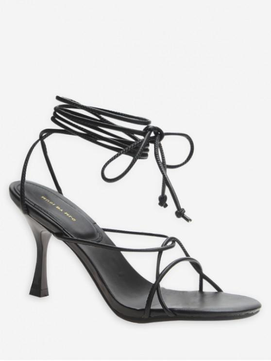 affordable Lace Up Strappy High Heel Sandals - BLACK EU 37