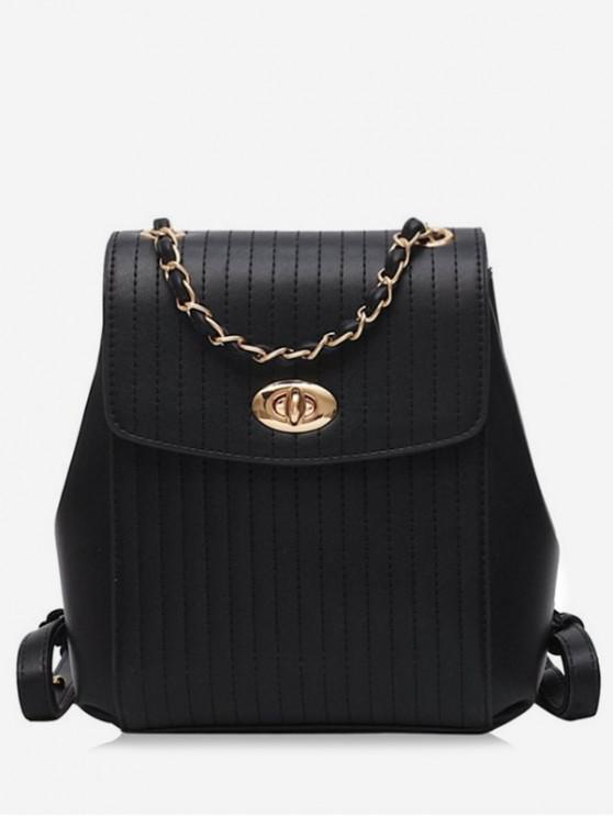 womens Chain Simple Style Backpack - JET BLACK