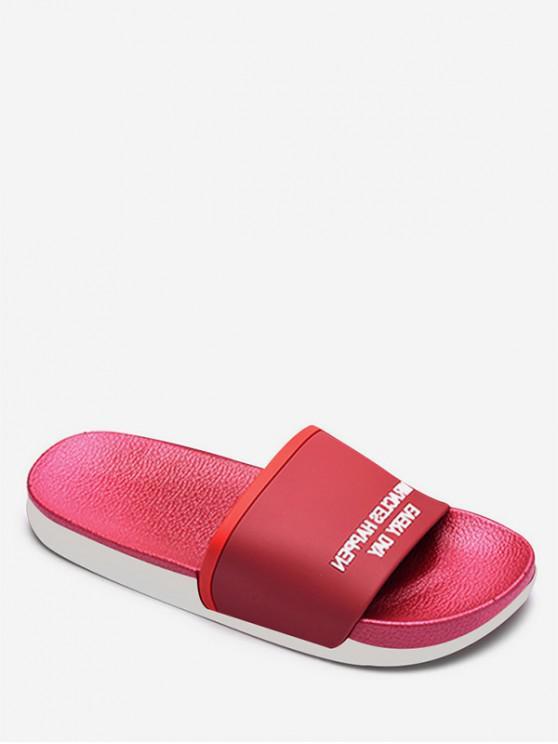 women Contrast Letter Flat Slippers - RED EU 38