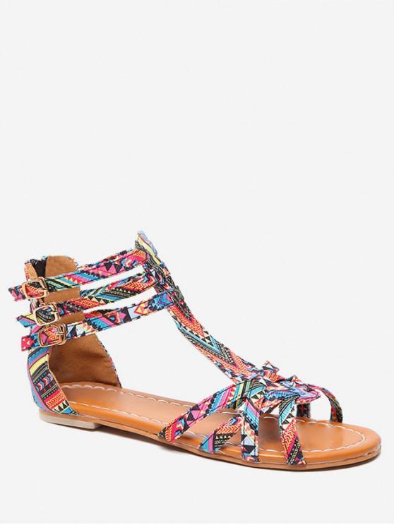 shop Bohemian Print Flat Sandals - PINK EU 37